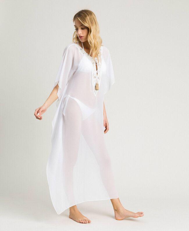 Caftan long en mousseline de soie Blanc Femme 191LM2BEE-01