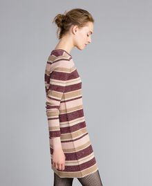 Striped lurex mini dress Multicolour Pink / Burgundy Woman PA832P-02