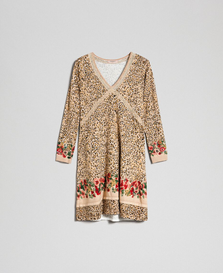 Knit dress with animal and floral print Leo / Flower Mix Print Woman 192TP3360-0S