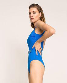 Logo one-piece swimsuit Fluo Blue Woman 201LBMH00-02