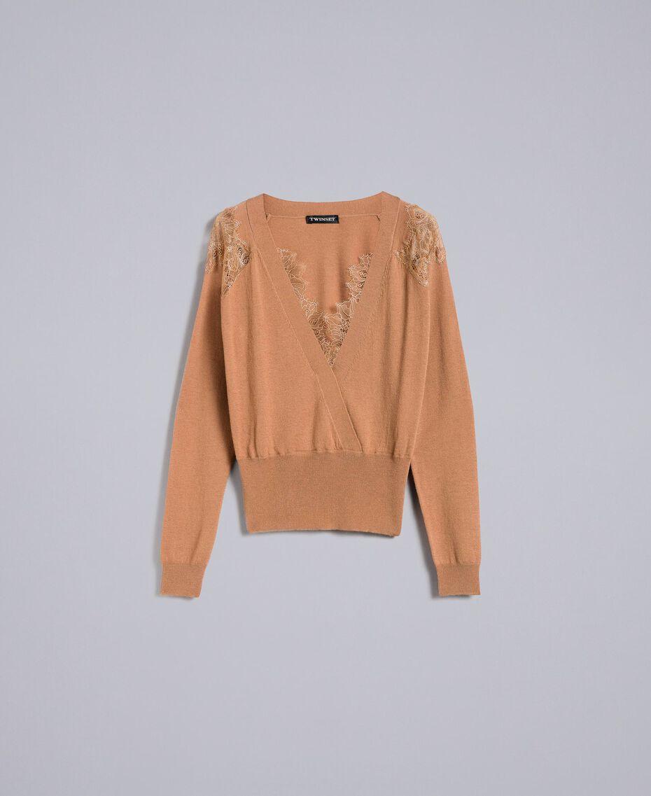 Pull en laine mélangée avec incrustations en dentelle Chameau Femme PA83AC-0S