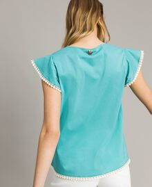 Poplin T-shirt Mousse Blue Woman 191LB2JDD-03