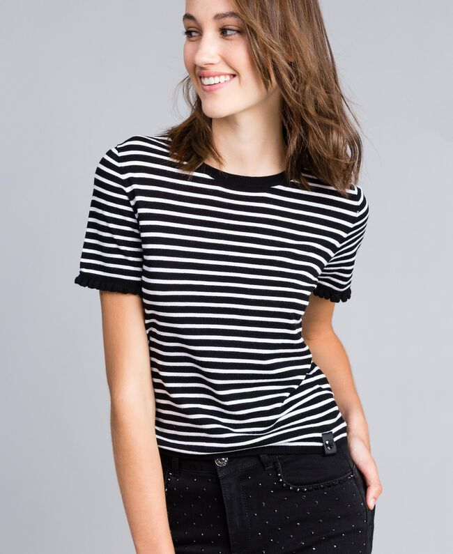 Two-tone striped jumper with ruches Black / Mother-of-pearl White Stripe Woman JA83BN-01