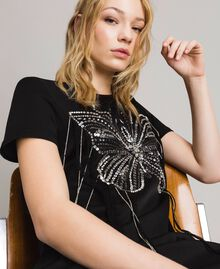 Butterfly embroidery and fringe tunic dress Black Woman 191TP269C-02