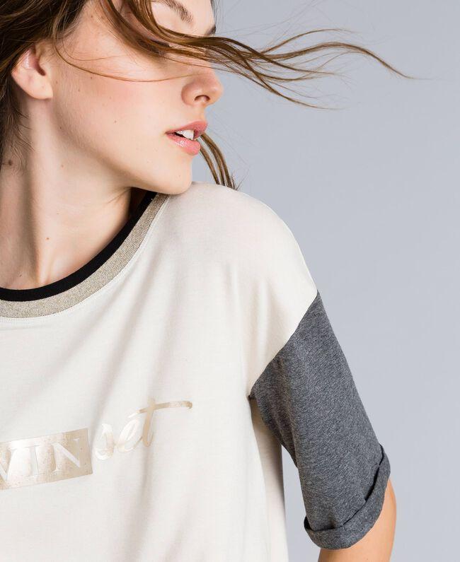 T-shirt court en jersey Bicolore Blanc / Gris Chiné Femme IA81JJ-04