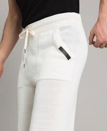 Cotton-blend jogging trousers Matte White Man 191UT3083-03