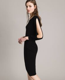 Sheath dress with slits Black Woman 191TP3291-03
