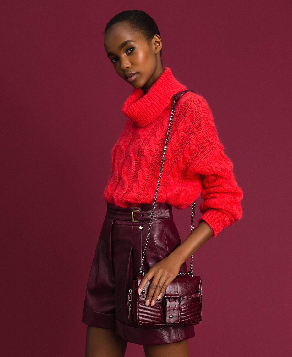 Petit sac à bandoulière Rebel en cuir Rouge Betterave Femme 192TA7237-0S