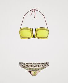 "Shawl print bikini set with rhinestones ""Lemon Juice"" Yellow Scarf Print Woman 191LBMHVV-01"