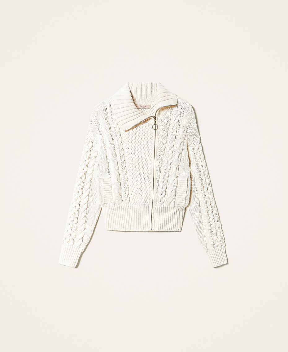 Wool blend biker jacket Parchment White Woman 202TT3191-0S