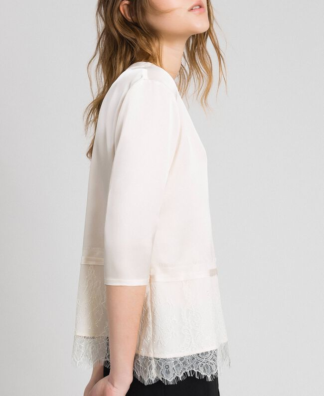 Soft satin blouse with lace flounce Black Woman 192MP2133-04