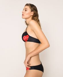 Printed Brazilian bikini bottom Black Rose Print Woman 201LBM877-01