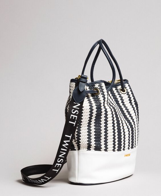 Plaited faux leather bucket bag