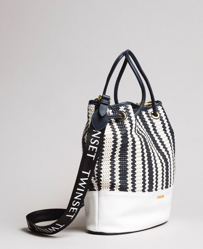 Plaited faux leather bucket bag Indigo Woman 191TO8131-01