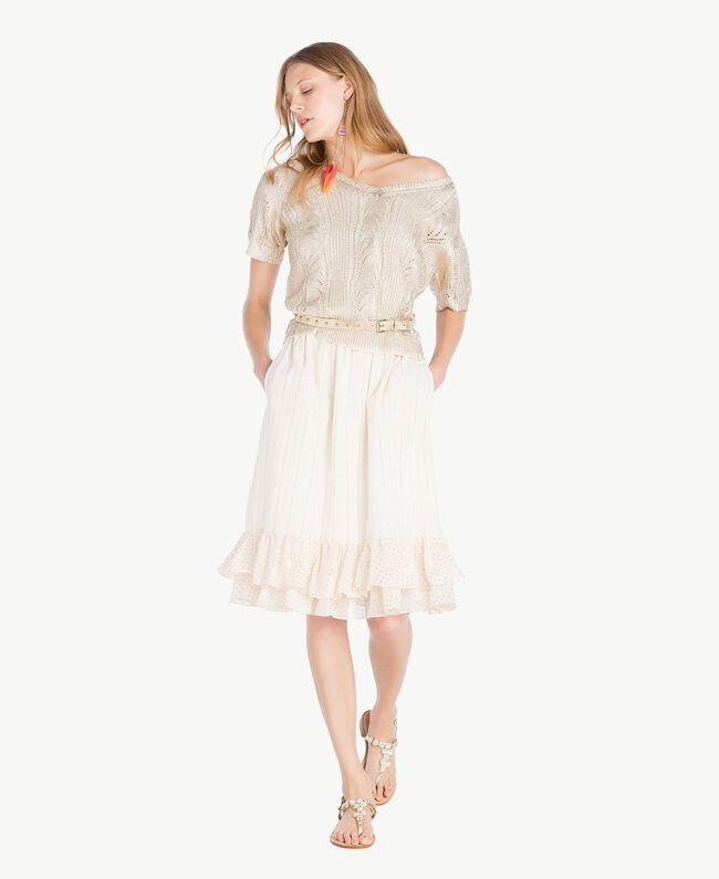 Kleid aus Jacquard Zweifarbig Meliertes Mittelgrau / Hellgold Frau TS8264-05