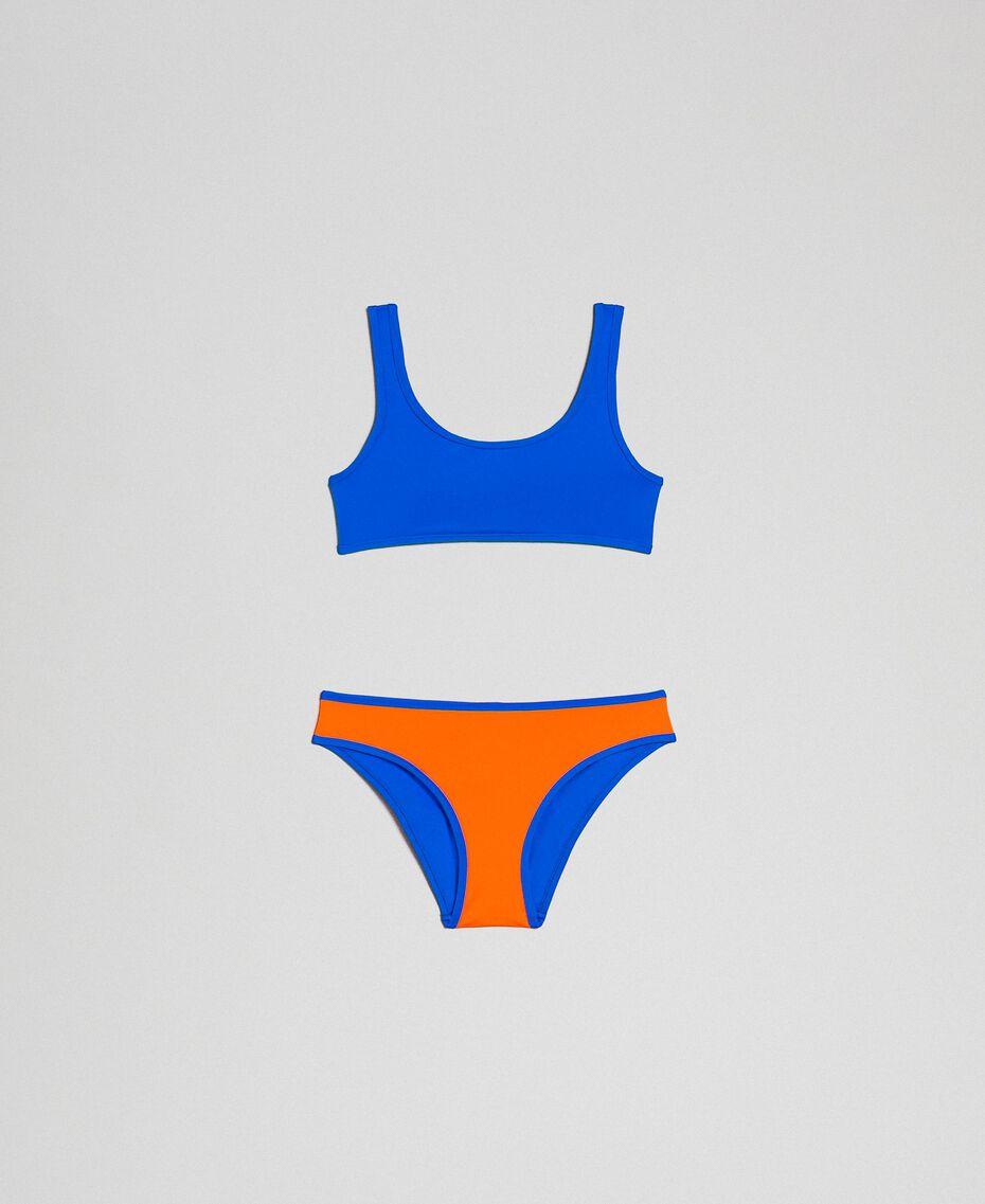 Maillot de bain bikini réversible Orange Fluo / Bleu Fluo Enfant 191TQM027-01