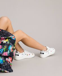 Faux leather sneakers with logo White Cream Woman 191MCP080-0S