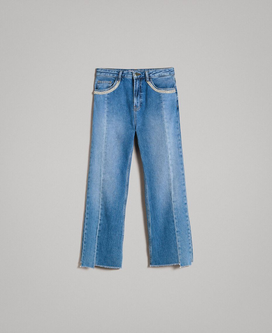 Bell bottom jeans with contrasting inserts Medium Blue Denim Woman 191TP2533-0S
