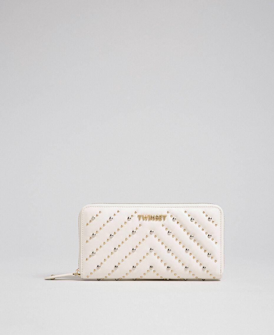 Portefeuille en cuir avec clous Blanc Papyrus Femme 192TA7113-02
