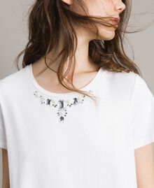 Maxi T-shirt with embroidery and lace White Cream Woman 191MP2065-04