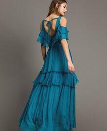 Silk crepon long dress with flounces Tile Blue Woman 191TT2423-03