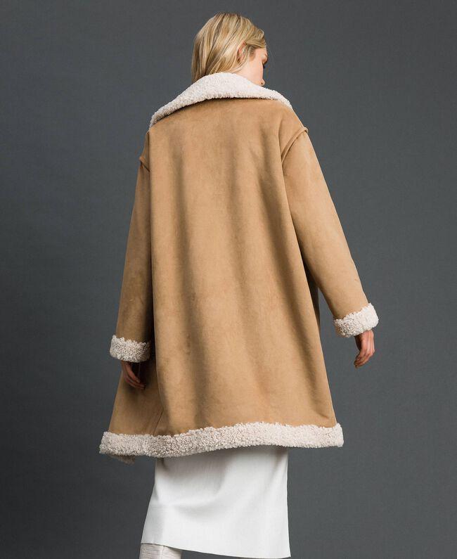 Manteau réversible en faux mouton Blanc «Vanille» / Crème Caramel Femme 192MT2020-04