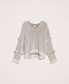 Twisted yarn jumper with lurex Multicolour Ivory / Black Woman 201TP3162-0S