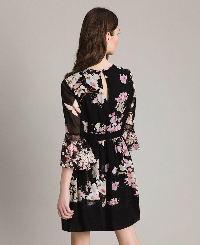 "Floral print georgette dress ""Peach Mix"" Pink Black Print Woman 191TP2716-03"