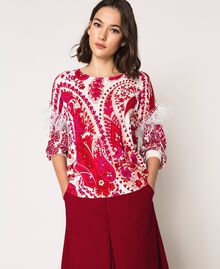 "Printed jumper with feathers ""Lava"" Red Cashmere Print/ ""Blossom"" Pink Woman 201TP3267-02"