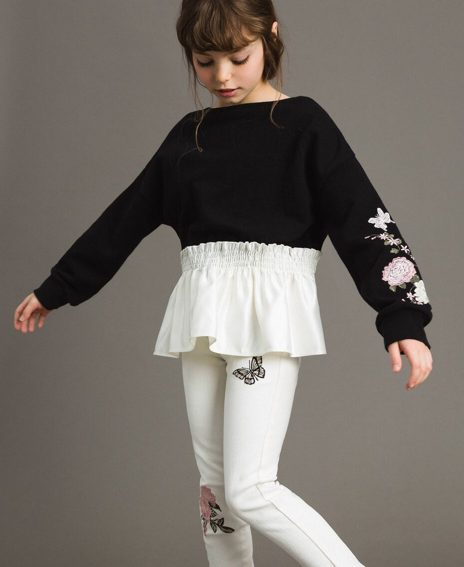 Cotton sweatshirt with satin flounce Bicolour Black / Off White Child 191GJ2401-02