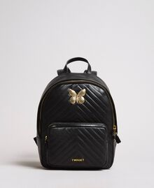 Matelassé leather backpack Black Woman 191TA7192-02