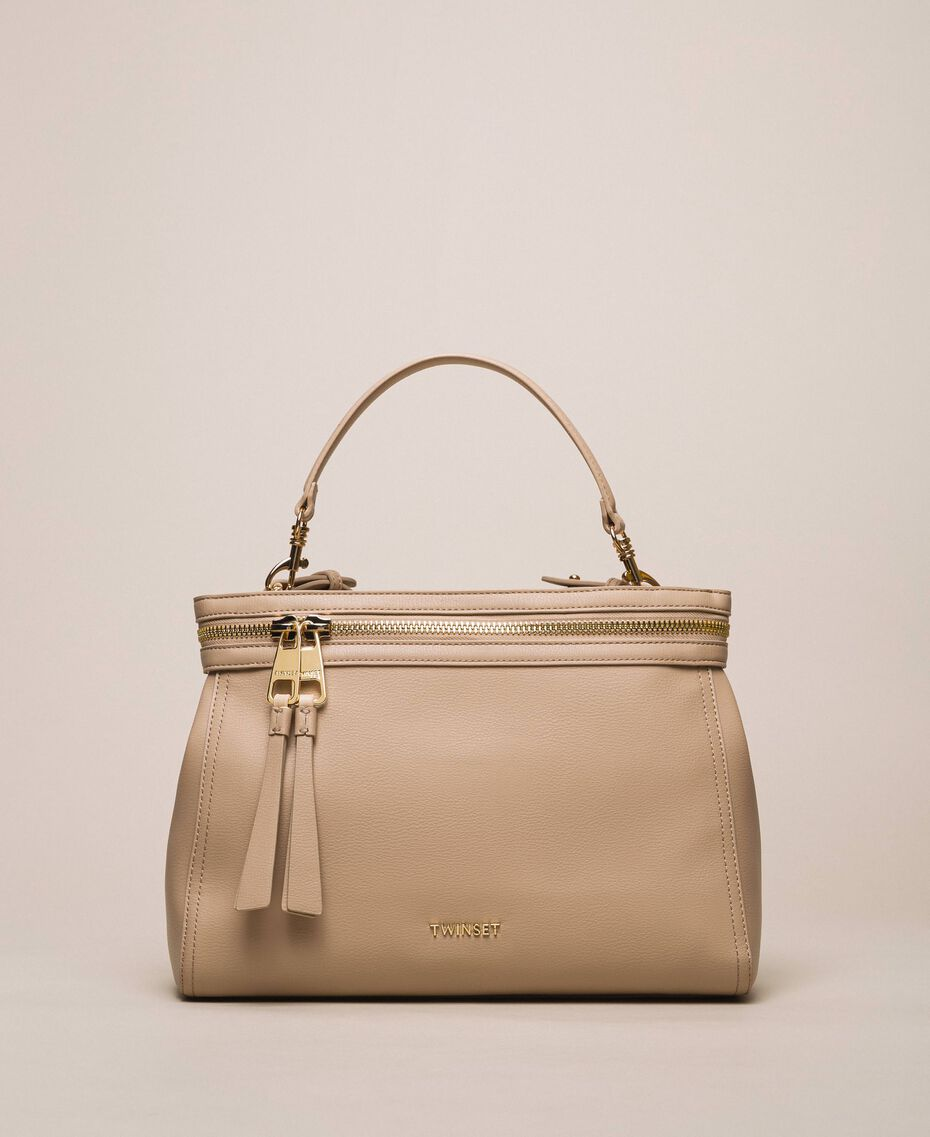 Large faux leather New Cécile bag Nougat Beige Woman 201TO8180-01
