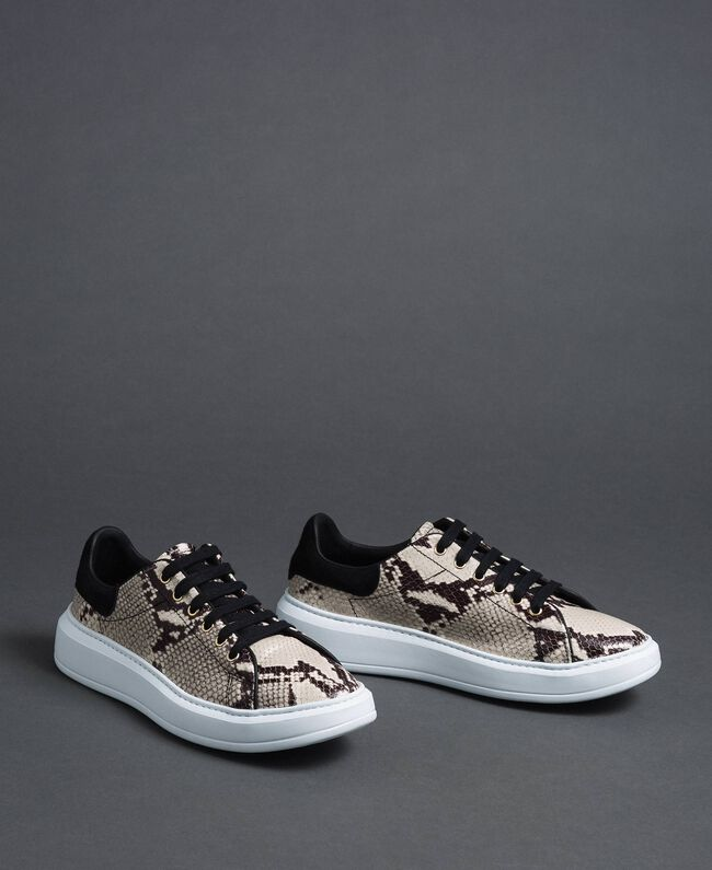 Sneakers in pelle con stampa animalier Stampa Pitone Roccia Donna 192TCT118-01