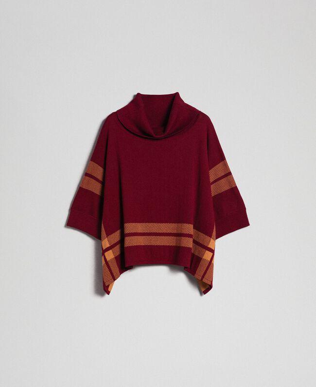 """Reversible knit poncho Purple Red / """"Camel Skin"""" Beige Woman 192LI3ZAA-0S"""