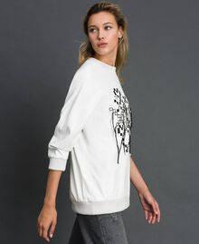 Faux leather sweatshirt with print and embroidery White Snow Woman 192ST2012-03