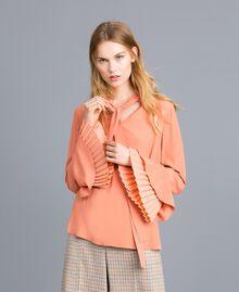 Bluse aus Seidenmischung mit Plissee Sandrosa Frau TA823T-01