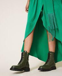 Tie-up leather combat boots Dark Olive Green Woman 202TCP182-0S