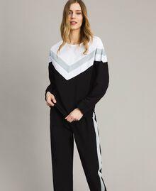 Gabardine sweatshirt with lurex insert Two-tone Black / Optical White Woman 191LL25EE-02
