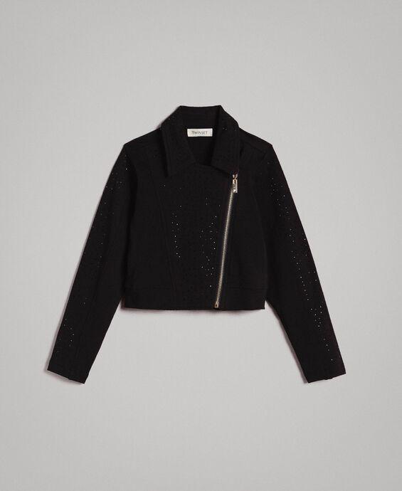 Fleece biker jacket with rhinestones