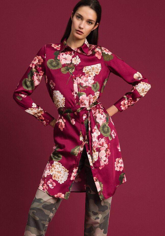 Chemise longue avec imprimé floral