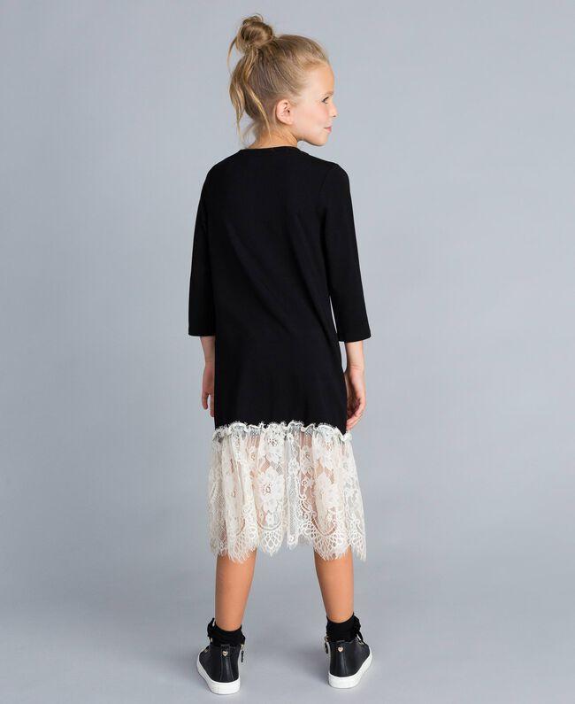 Robe longue en jersey avec dentelle Bicolore Noir / Blanc Cassé Enfant GA82GN-03