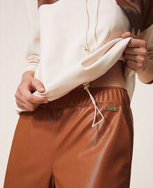 Pantalon cigarette en similicuir Rouge Terre cuite Femme 202LI2GDD-05
