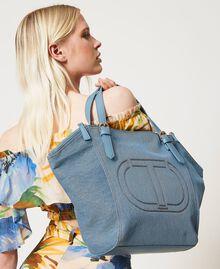 Canvas shopper with logo Light Denim Woman 211TD8180-0S