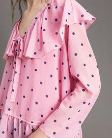 Georgette-Bluse mit Aufdruck Motiv Herzen Polka Dot Hortensienpink Frau 191MP2381-04