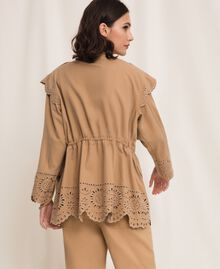 """Canvas jacket with broderie anglaise """"Dune"""" Beige Woman 201TP2011-04"""