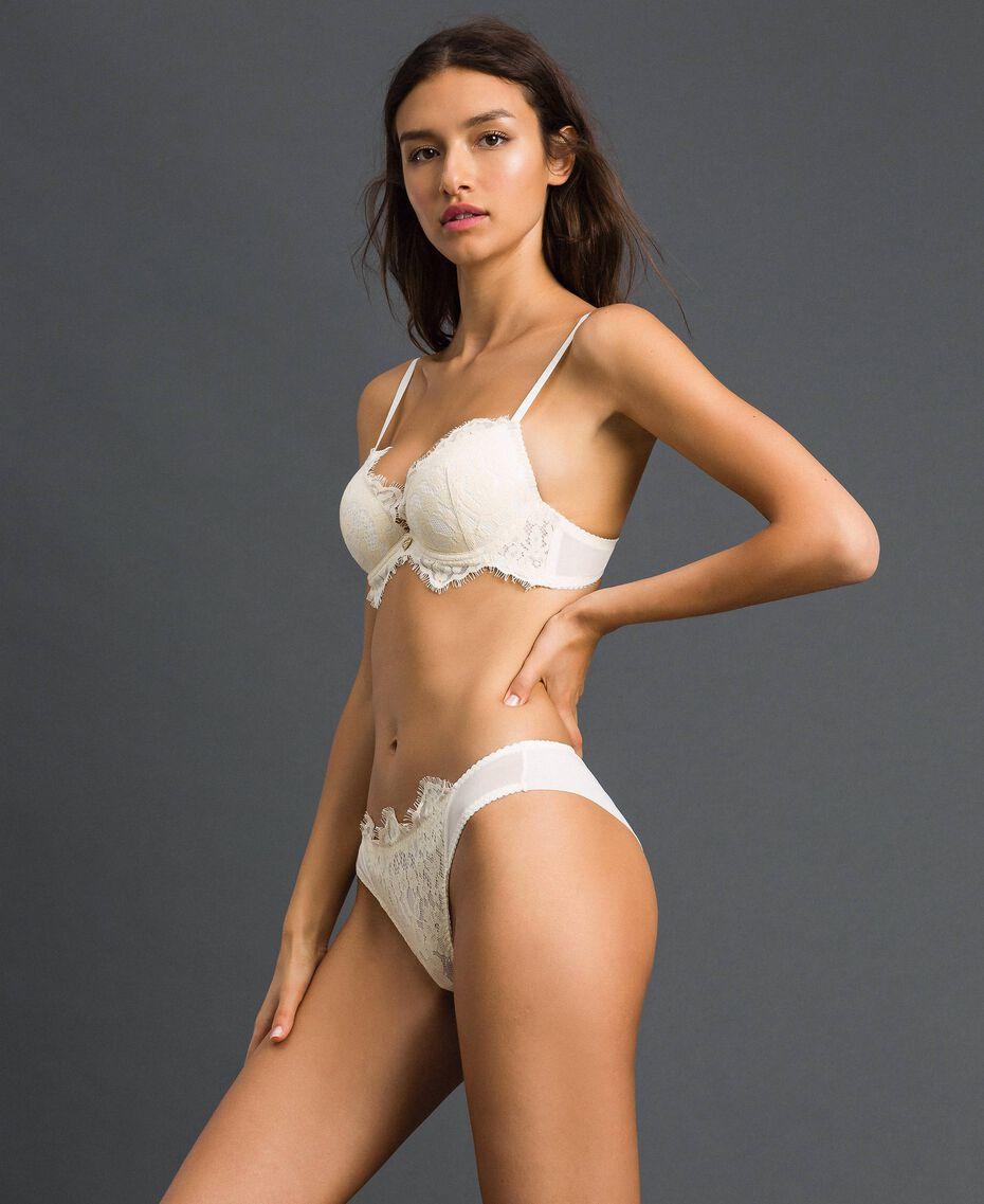 Culotte brésilienne en dentelle Crème Femme 192LI6177-02