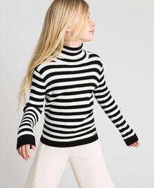 Ribbed mock turtleneck with stripes Ruby Wine Striped Jacquard / Oat Child 192GJ3170-01