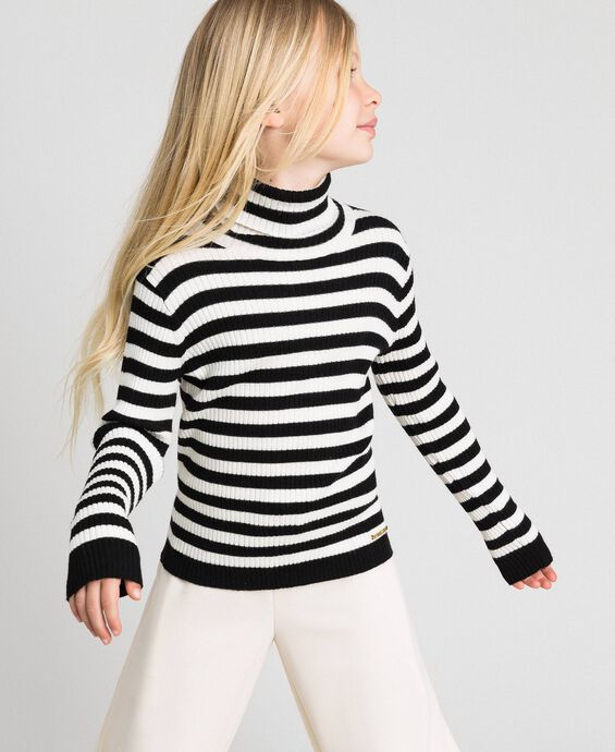 Ribbed mock turtleneck with stripes