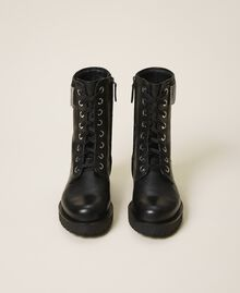 Leather combat boots with fringes Black Woman 202TCT100-05