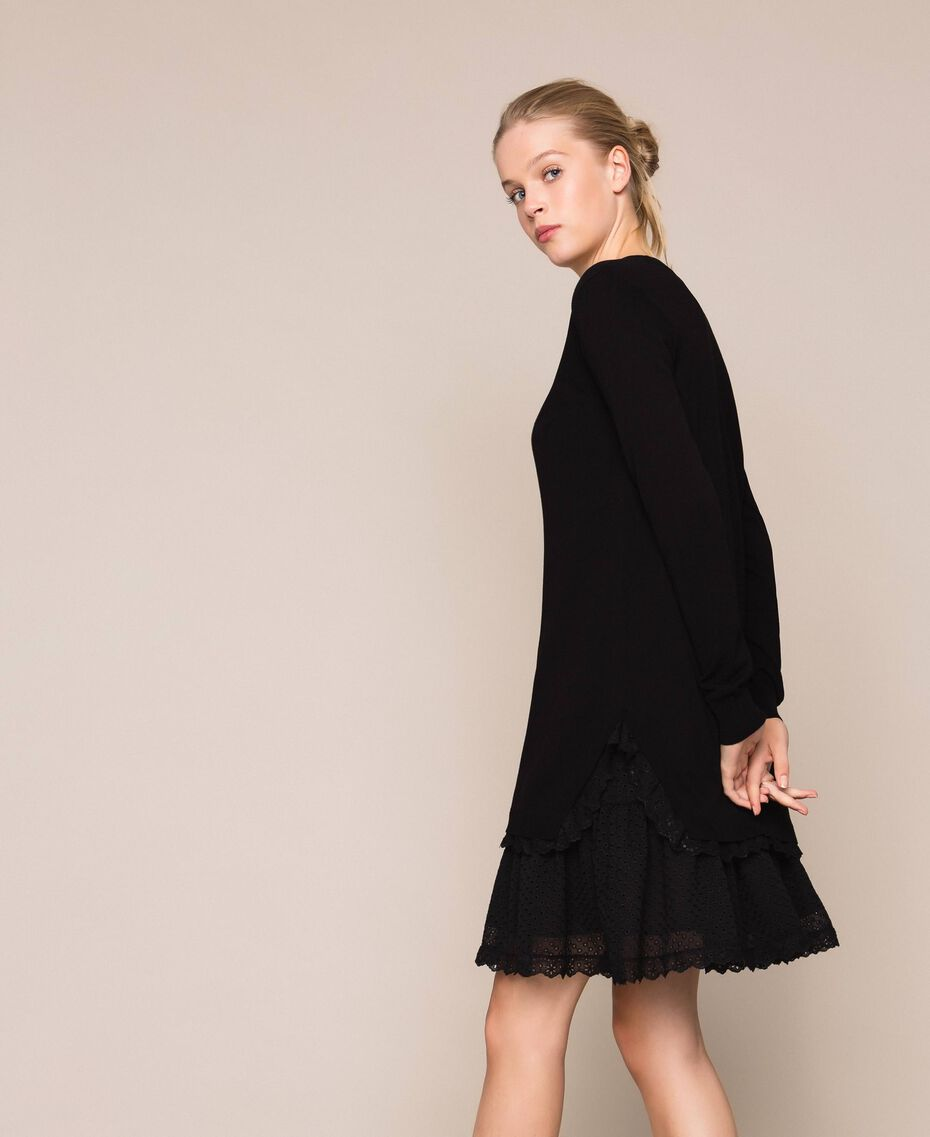 Knitted dress with broderie anglaise flounce Black Woman 201TP3041-02